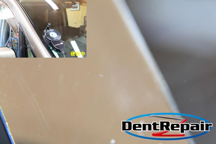 セレナ運転席前のひび、修理後の写真