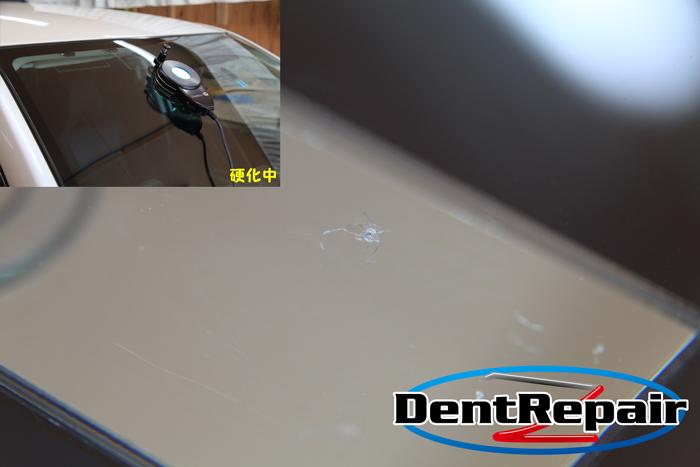 エクシーガ運転席後のひび、修理前の写真