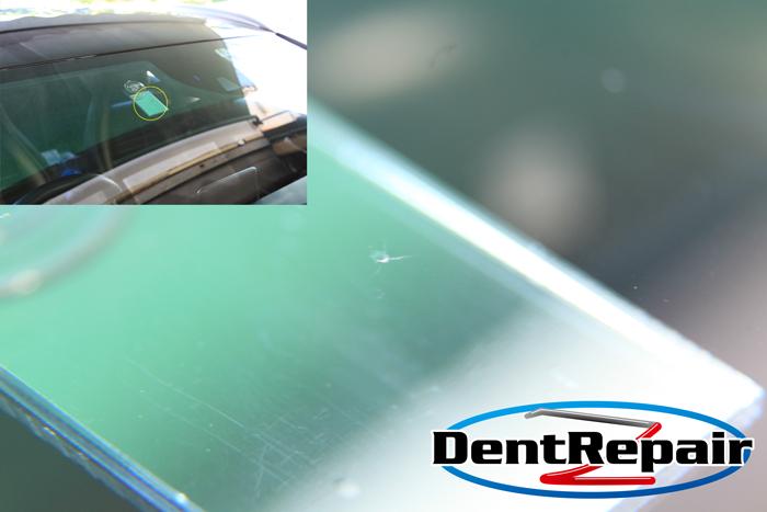 ベンツ運転席前のひび、修理後の写真