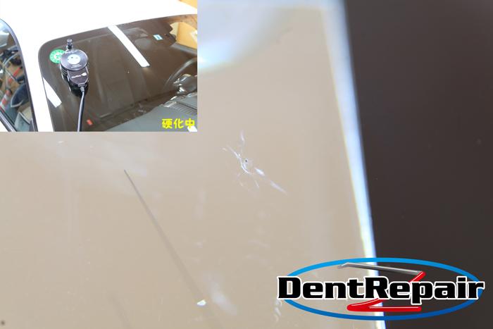 ケイマン助手席側のひび、修理後の写真
