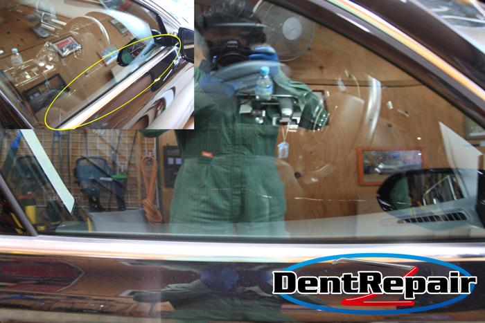 A8運転席ドアのガラスのひび、修理後の写真
