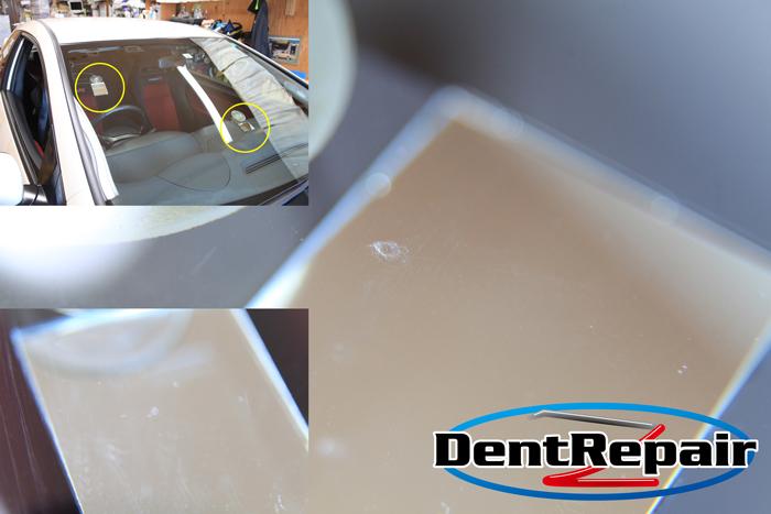 シビックタイプRガラスリペア痕の再修理、修理後の写真